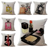 black pillow cases - creative women cosmetic cushion cover modern euro pillow cover lipstick funda cojin perfume throw pillow case for sofa chair couch