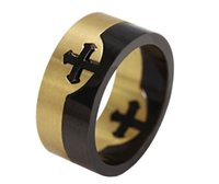 Wholesale Fashion Separable Cross Rings Gold Silver Plated Stainless Steel Punk Rock Jewelry For Men And Boy