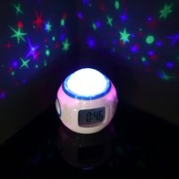 Wholesale Music Starry Sky Projection Color Change Star Sky Digital Projection Alarm Clock Backlight Music Projector