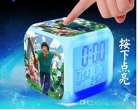 Wholesale NEW Christmas Minecraft Design alarm clock Minecraft Creeper clock LED Color Change Digital Alarm Clock Night Colorful Changing toy H452