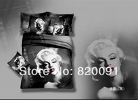 Cheap Hot New Arrival 4 or 5pcs Sexy Goddess Marilyn Monroe Bedding Duvet Cover Sheet Pillowcases in Black 100% Cotton Oil Painting