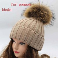 Cheap Real Racoon Fur Hats For Women Winter Pompom Hats Russian Bobble hat cap Beanie Hat With Fur Pompom For Gift Skullies Caps