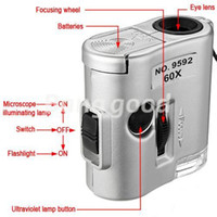 Wholesale Brand New Mini Lens X Pocket Magnifier Microscope With LED Light Jewelry Jeweler Loupe Currency Dectector