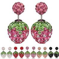 Wholesale Sweet Strawberry Double Sided Stud Earrings Women Lady Crystal Rhinestone Earrings Fashion Fine Jewelry Perfect Gift H373