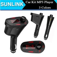Wholesale 3 Colors Car Kit MP3 Music Player Wireless FM Transmitter Radio Modulator With USB SD MMC Remote Control DHL