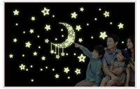 Wholesale night Light Luminous wall stickers home decor home decoration wall sticker for kids rooms wall decals MOON AND STAR DREAM Y0015