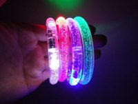 Wholesale 250pc LED free EMS shipping Flashing Acrylic Bracelet Light Up Wristband Luminous Toys Multi Color