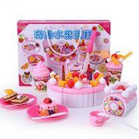 Wholesale 37Pcs Kids ABS Pretend Play Kitchen Toys set Strawberry Birthday Cake Game Toys Sets Children Miniature Food Plastic Fruit Toys