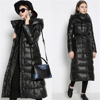 belted down coat with hood - Thicken Women Long Down Coats With Hood New Trend Women Long Belted Winter Jackets Wide Waisted Warm Down Coats For Women