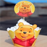 Wholesale Classic Winnie the Pooh Paper Cupcake Wrappers Decorating Boxes Baking Cups With Toppers Picks For Kids Xmas Birthday Party Decoration