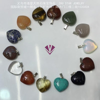 amber heart pendants - Fashion natural stone amethyst crystal opal pink agate turquoise Redstone Green Aventurine Heart Pendant Necklace Jewelry perspective