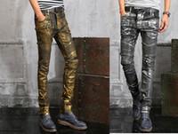 skinny jeans for men - Mens Balmain Punk Jeans Skinny Runway Distressed Elastic Jeans Denim Biker Hiphop Pants Golden Silver Jeans For Men