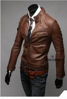 Wholesale 2015 New arrival men s Jacket pu Leather Jacket motorcycle Jacket casual mens coat pocket mens jacket brown