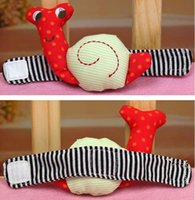 Wholesale pair lovely Snail Baby Wrist Watch Infant Hand Rattle plush Toy