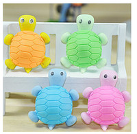 Wholesale Four Colors Creative Stationery Novelty Cartoon Eraser For Children School Supplies Turtle Modelling Rubber Eraser Home Decoration