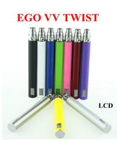 1100mAh batteries rechargeable c - 2015 Electronic Cigarette EGo C Twist VV battery Variable Voltage mah mAh mah Rechargeable Battery with LCD Screen LED light