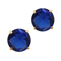 Wholesale Ct Round mm Blue Created Sapphire K Yellow Gold Stud Earrings