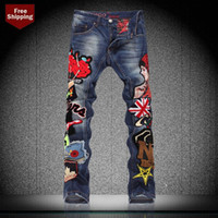 Wholesale Hip hop jeans men mens american flag jeans fashion spring and autumn applique patchwork straight slim men jeans for BIEPA