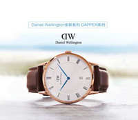 mens luxury watch quartz - Luxury Mens Brand Watches Casual Watches DW Imported Quartz Movement Genuine Leather Calendar High Quality Strap Drees Watches