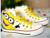 Cheap 6 styles Despicable Me Minions Unisex Canvas Casual Sneakers for Women men 2015 high top Hand-painted board Shoes size 35-43