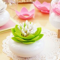 Wholesale Exquisite Lotus Design Cotton Swab Holder Toothpick Case Storage Box