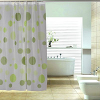 bath shower curtain rod - FS Hot PEVA Shower Curtain Bath Curtain with Rod Hooks Dots Pattern order lt no track