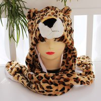 animal hat with paws - 200pcs New Fashion Cartoon Faux Fur Furry Plush Warm Animal Hat With Long Scarf Gloves With Paws Beanies Cap Winte