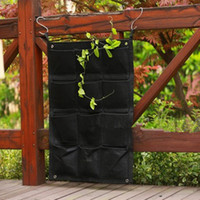 Wholesale 12 Pockets New Felt Vertical Gardening Flower Planter Hanging Bags Grow Bags Wall mounted Black Wall Planter Bag cm