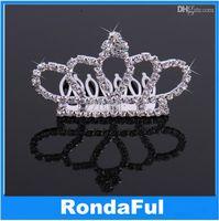 Cheap Wholesale-Girls Kids Elegant Sparkly Crystal Rhinestone Crown Tiara Comb Headband hair accessories bridal jewelry Dropshipping