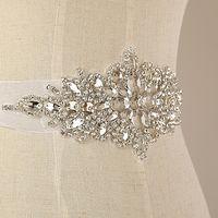 Wholesale 5pcs Luxury Crystal Clear Rhinestone Applique Motifs With Satin Ribbon Lace Sash Trim
