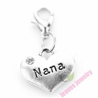 Wholesale i love nana Silver heart Dangle Charms Jewelry DIY Findings Fit floating locket and European Bracelet or necklace