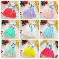 Wholesale Factory price new girls summer dress sleeveless flower baby girl dresses veil tired tutu skirts kids clothing children lacecdress
