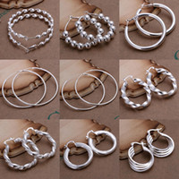 Wholesale Top Quality Sterling Silver Earrings For Women Fashion Jewelry Charms Lady s Hoop Earrings Mixed Styles pairs
