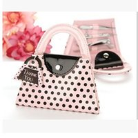 Wholesale Pink Polka Purse manicure set pedicure Wedding Favor Gift Pink Polka Purse Manicure Set Pedicure dhl fedex