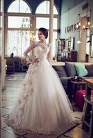 Cheap Custom Vintage Ball Gown Wedding Dresses Sheer Bateau Neckline Lace Long Sleeve Wedding Gown 2015 Flowers Embellished Princess Wedding Dress