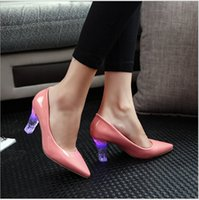 b lights crystals - Fashionable nightclub crystal high female shoes with thick with tines rechargeable LED lights glowing colorful shoes