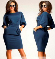 bell work - Sexy Women Dress New Fashion Casual Women s Winter Dress Slim Long Stretch Work Dresses Plus Size Office Dress