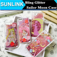 apple moon - Cartoon Flower Sailor Moon Pretty Girl Glitter Star Flowing Quicksand Liquid Case For iPhone s Plus plus Transparent Clear Cover