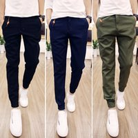 Wholesale Fashion pure color beam multi pocket casual harem khaki green pants trousers men basic ankle tied pants Reducing uk fashion