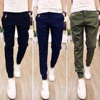 al por mayor vigas de moda-Moda haz de color puro multi-bolsillo harem ocasional de los pantalones de color caqui verde pantalones hombres pantalones básicos tobillo-atada Reducción uk moda
