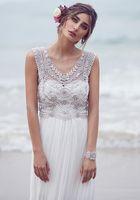 Cheap Anna Campbell 2016 Wedding Dresses Beading Crystals Sleeveless Chiffon Beach Wedding Gowns Floor Length Luxury Boho Custom Made Bridal Dress