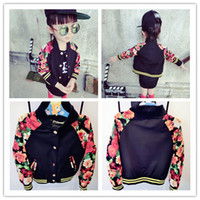 Jackets Unisex Spring / Autumn wholesale NEW 2014 Autumn Fall kids floral jacket flower print fashion black coat baseball girls boys top clothes