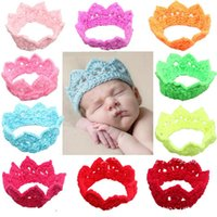 Wholesale Handmade Newborn Baby Girl Boy Crochet Knit Crown Hat Cap Hairband Prop Clothing Photography Accessories Soft Adorable