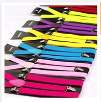 Wholesale 29 colors Clip on Adjustable Unisex Mens Pants Fully Elastic Y back Suspender belt Braces C1605