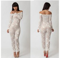 Wholesale 2015 Floral Lace Jumpsuit Hollow out Sheath Outfit One piece Bodycon See through Long Sleeve Romper Trousers Union Suits for Women Ladies