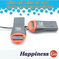 Wholesale 100 micro usb micro sd card phone card reader adapter