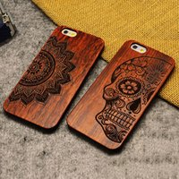 wood - iPhone Wooden Case Natural Cover for iPhone Plus s Genuine Walnut Bamboo Carving Patterns Wood Slice Durable Plastic Shell DHL EMS