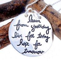 accessory quotes - 2015 Fashion Men Women Jewelry Silver Bead Chain Round Wafer Charm Quote Inspirational Pendant Necklace Personalized Accessories