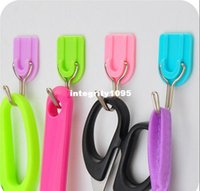 Wholesale Creative candy color strong adhesive Door after free nail kitchen hooks bathroom wall hanging hook PACK JA42