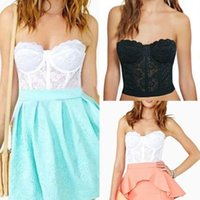 Cheap Wholesale-Floral Crop Top Lace Bustier Womens Corset Bralet Bra Strapless Bodycon Cami SML